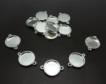 20 connectors 16mm silver Cabochons