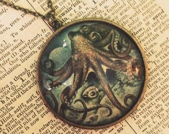 "Octopus Necklace or Keychain // 24"" Antique Bronze Brass Chain // 4.75"" L Keychain // Vintage // Steampunk // Boho Jewelry // Festival Wear"