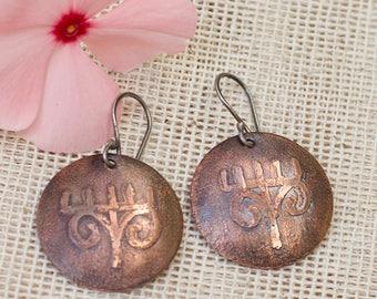 Ethnic earrings, Tribal earrings, Tribal jewelry, Primitive jewelry, Rustic copper earrings, Copper dangles Copper jewelry Silver ear wires