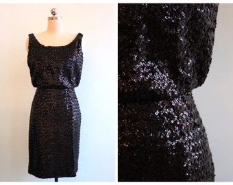 Vintage 1950's Black Sequin Cocktail Dress | Size Extra Small