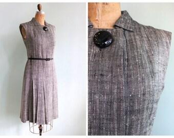 Vintage 1960's Pauline Trigère Tweed Dress   Size Medium