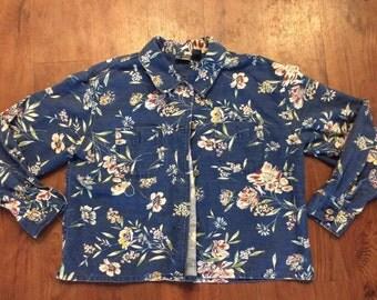 Denim floral print button down