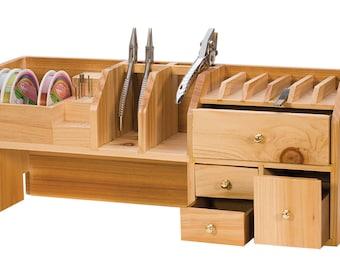 """18"""" x 4-1/2"""" x 7-1/2 Benchtop Organizer Jewelry Storage Bench Tool w/ Drawers - HOL-230.05"""