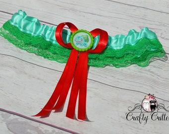 Bulbasaur Wedding Garter - Custom Garter - Traditional Garter - Bridal Garter - Satin Garter - Lace Garter - Novelty Garter