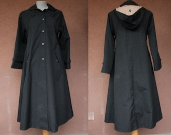 SALE!1960's Black Trench Coat with Hoodie - 60's Winter Trench Coat - Size S/M