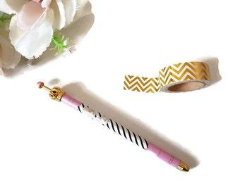 Pink gold crown pen, ballpoint pen, pink and black stripe pen