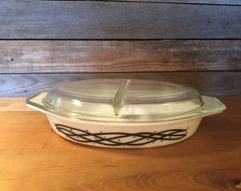 Vintage Pyrex Divided Casserole – black and white barbed wire pattern