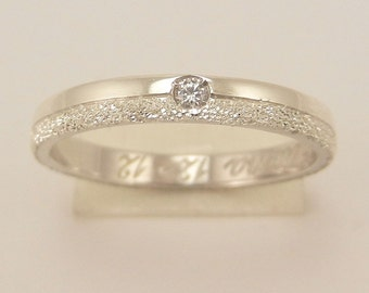Silver diamond band ring with cubic zirconia and row 925.000, craft model