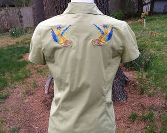 Upcycled embroidered short sleeve blouse Ann Taylor Size M 6 8 10 Swooping bird embroidery