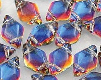 GemDuo Beads, Backlit Vapor, 40 count, 5 x 8 mm 2-Hole Czech Bead, (GD-00030-29942)