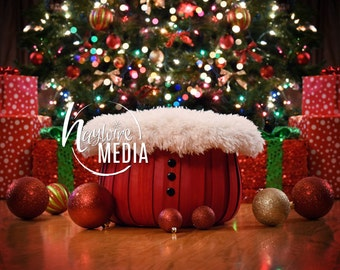 Newborn, Baby, Toddler, Child, Christmas Tree and Santa Basket Photography Digital Backdrop Prop for Photographers - JPG Download