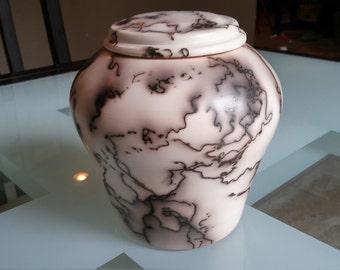 Hand thrown, horsehair raku pottery - Jar