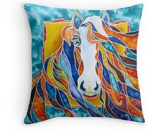 Horse - Cushion Cover  - Printed from original silk painting