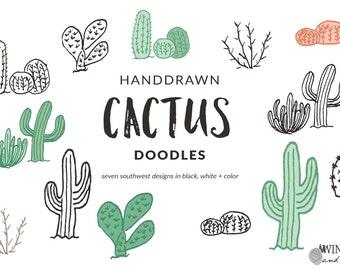Cactus Clip Art - Hand Drawn Southwest Desert Doodle Set