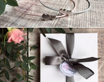 Leather Friendship Bracelet in pink or silver with Free Gift Box