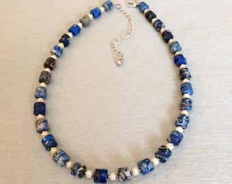 Jasper Bead Necklace Blue Jasper Necklace Short Necklace Beaded Blue Choker Necklace Imperial Jasper Blue Stone Necklace Casual Trendy Gift