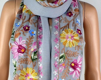 Light grey cotton scarf, three-dimensional embroidery scarf, cotton scarf, shawl, women decorative accessories