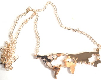 Rose Gold Plated World Map Necklace