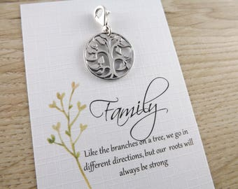 Sterling silver tree of life clip on charm~tree charm~family clip on charm~family charm ~tree of life silver charm~gift necklace for family