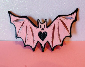 Pastel Goth Kawaii Bat Brooch - Painted Wood