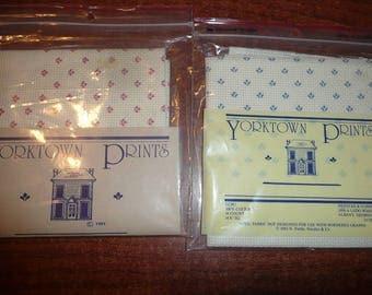 Yorktown Prints Fabrics Ecru With Mauve, Blue Prints