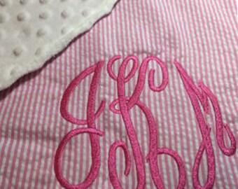 Monogram Baby Blanket, Minky Dot Blanket, Personalized Baby Blanket, Baby Shower Gift, Newborn Baby Gift, Monogrammed