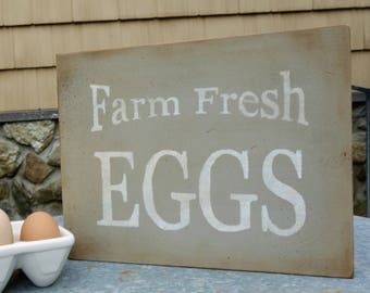Farm Fresh Eggs Sign, Hand Painted Kitchen Sign, Primitive Country Handmade Reclaimed Wood Sign, Upcycled Country Housewarming Newlywed Gift