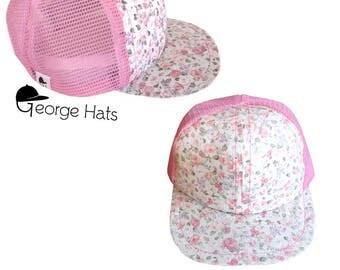 Toddler & Kids Trucker Hat / Baby Trucker Hat / Kids Snapback / Pink Floral