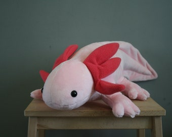 Axel Axolotl, cute pink axolotl plush, 22 inch, stuffed amfibian, made to order