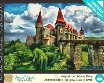 Corvin Castle, Romanian Castle, European Castle • Beautiful Travel Digital Painting, Travel Printable Wall Art, Home Architectural Art Decor