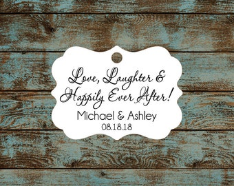 Love Laughter and Happily Ever After Wedding Reception Favor Tags # 672