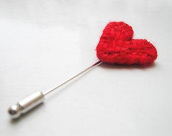 Red Heart Brooch Pin Cute Heart Brooch String Art Pin Valentine Gift Wearable Art Jewelry Crochet Heart Pin Textile Brooch Pin Love Symbol