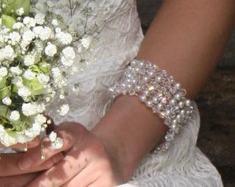 Bridal Cuff, Pearl and crystal bridal bracelet, wedding jewelry, bridal jewellery, bridal accessories, Crystal Cuff, Pearl bracelet, boho