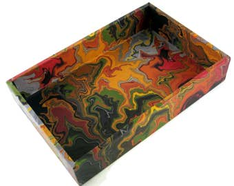 Men's valet tray, marbled design, decorative tray, desk tray, catchall tray, coffee table decor, gift, Made to Order