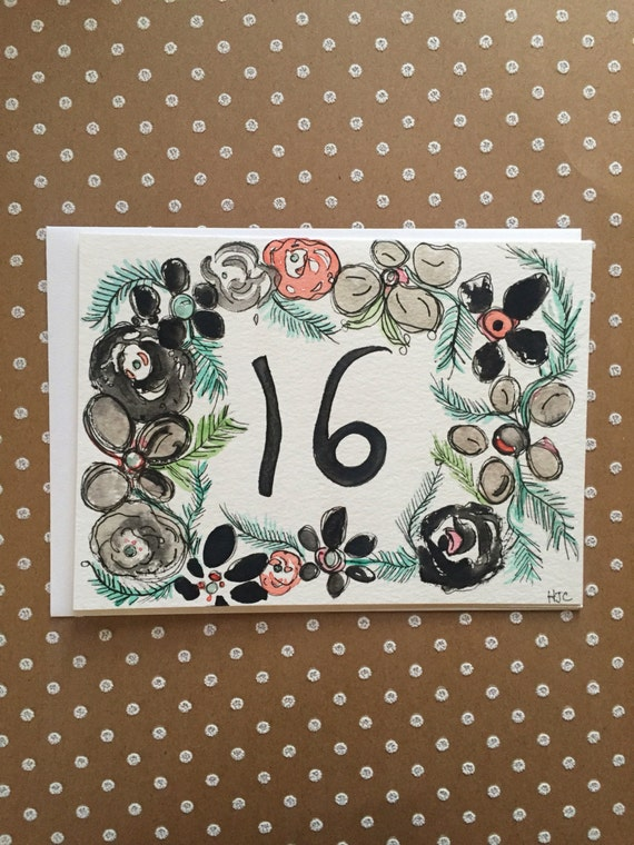 Sweet 16th Birthday Card, Hand Painted Birthday Card, Homemade 16th Birthday Card