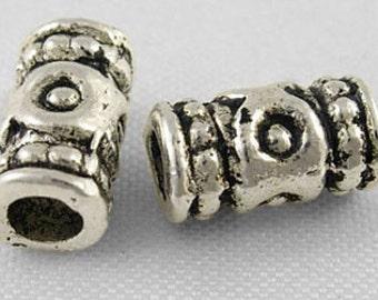Vintage Antique Tibetin Silver Spacer Bead Column 9x4mm 16pc