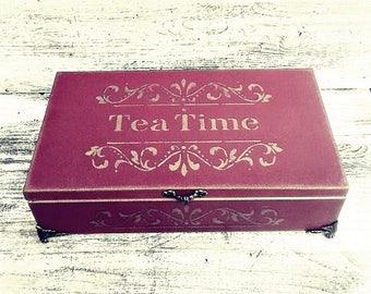large tea bag box, tea bag box, vintage tea box, luxury tea bag box