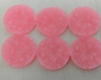 Pink 25mm nugget faux druzy Cabochons 6pcs