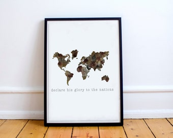 Declare His Glory to the Nations - Digital Print - Watercolor Print - Missions Print - World Map Print