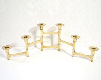 Danish Modern Candelabra- Vintage Brass Folding 6 Candle Holder, Upscale Mid Century Brass Decor