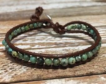 Healing Crystal Bracelet / African Turquoise Bracelet / Chakra Healing Bracelet / Single Wrap Bracelet / Chan Luu Style Bracelet
