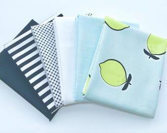 Fat Quarter Bundle Lemons Novelty fabric plus Mixed Basics- 6 Fabrics