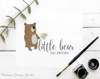 Kids Premade Logo Design, Watercolor Bear Logo for your Business, Premade Kids logo, Kids Boutique Branding and Logo (A6)