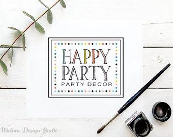 Party Logo Design, Pre-made Logo, Party supplies Logo and Branding, Kids Logo, Happy Party Logo (A37)