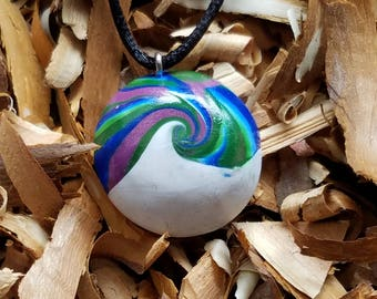 Polymer clay winter waves necklace
