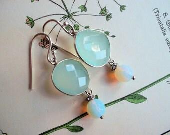 Gemstone earrings green chalcedony 925 silver opalite rhinestone gemstone earrings hill tribe silver earhooks