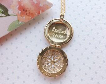 Bible Verse Locket Necklace / Verse Necklace / Psalm Locket / Mother of the Bride Gift Bridal Locket