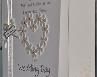 Personalised Handmade Flower-Heart Congratulations Wedding Day Card. Daughter/Son in Law, Son/Daughter in Law, Sister/Brother in Law.Friends