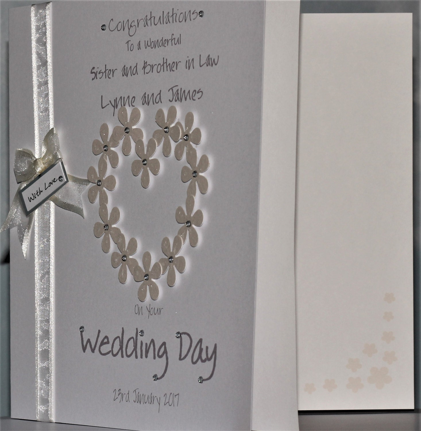 Personalised Handmade Flower Heart Congratulations Wedding Day Card Daughter Son In Law