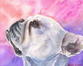 French Bulldog  Print of the Original Watercolor Painting art cute Sweet Dog painting Decor  Funny Play hide